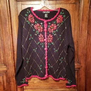 Vintage 90's Ugly Christmas Sweater Poinsettia